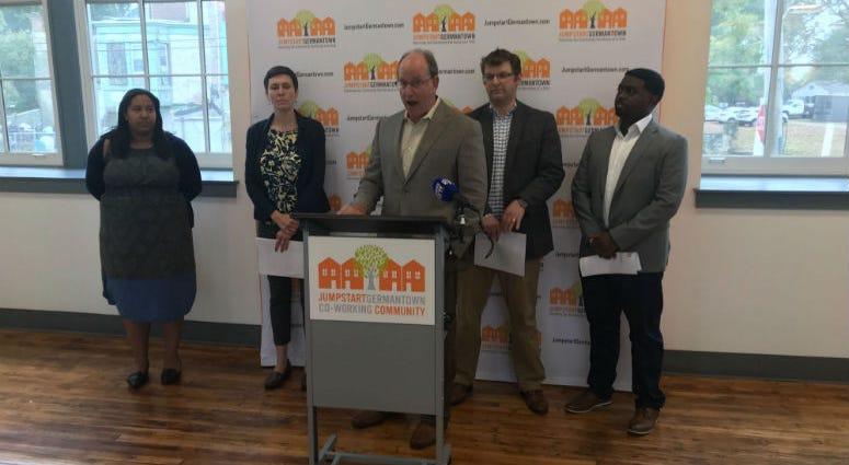 Ken Weinstein, founder of Jumpstart Germantown, speaking at a press conference.