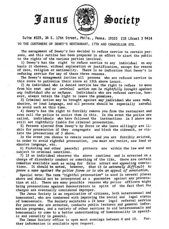 The Janus Society, and early gay rights organization, distributed this leaflet during the protest at Dewey's.
