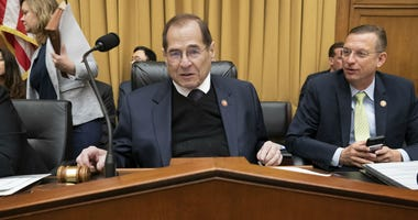 House Judiciary Committee Chair Jerrold Nadler, D-N.Y., joined at right by Ranking Member Doug Collins, R-Ga., prepares for the start of a hearing on The Equality Act, a comprehensive nondiscrimination bill for LGBT rights, Washington, D.C.