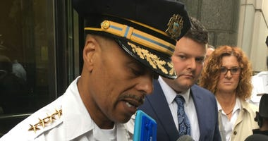 Philadelphia Police Commissioner Richard Ross speaks after the sentencing, alongside Officer Jesse Hartnett.