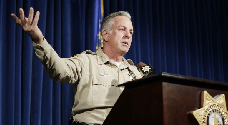 Clark County Sheriff Joe Lombardo speaks at a news conference regarding the Oct. 1 shooting on Friday, Aug. 3, 2018, in Las Vegas.