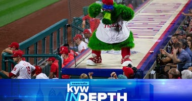 Aug 28, 2019; Philadelphia, PA, USA; The Phillies Phanatic entertains fans from the top of the Philadelphia Phillies dugout during the seventh inning against the Pittsburgh Pirates.