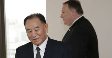 Kim Yong Chol and Mike Pompeo