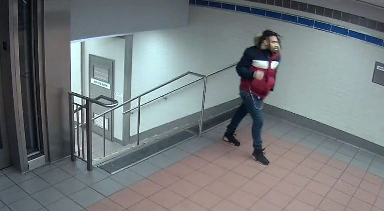 SEPTA surveillance images show a man suspected of raping a woman in LOVE Park early Saturday morning.
