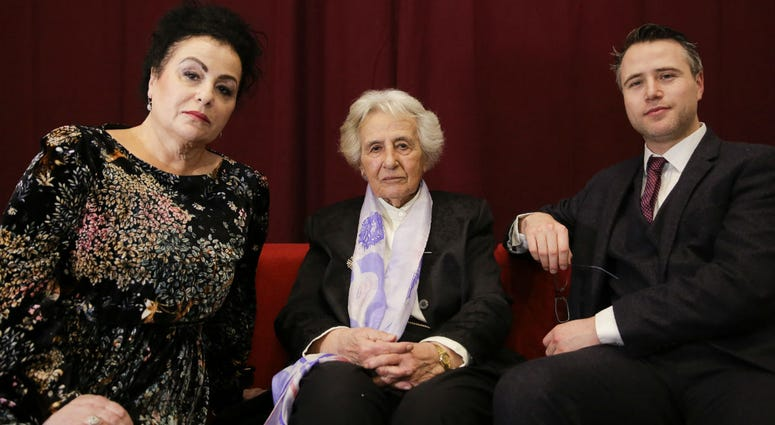 Holocaust survivor Anita Lasker-Wallfisch, center, her daughter Maya Jacobs Lasker-Wallfisch, left, and her grandson Simon Wallfisch, right.