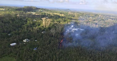 lava is shown burning in Leilani Estates subdivision near the town of Pahoa on the Big Island in Hawaii