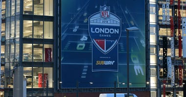 General overall view of signage outside of Wembley Stadium promoting the 2018 NFL International Series games in London