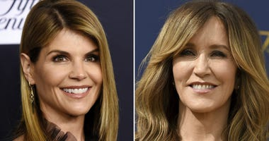 This combination photo shows actress Lori Loughlin at the Women's Cancer Research Fund's An Unforgettable Evening event in Beverly Hills, Calif., on Feb. 27, 2018, left, and actress Felicity Huffman at the 70th Primetime Emmy Awards in Los Angeles.