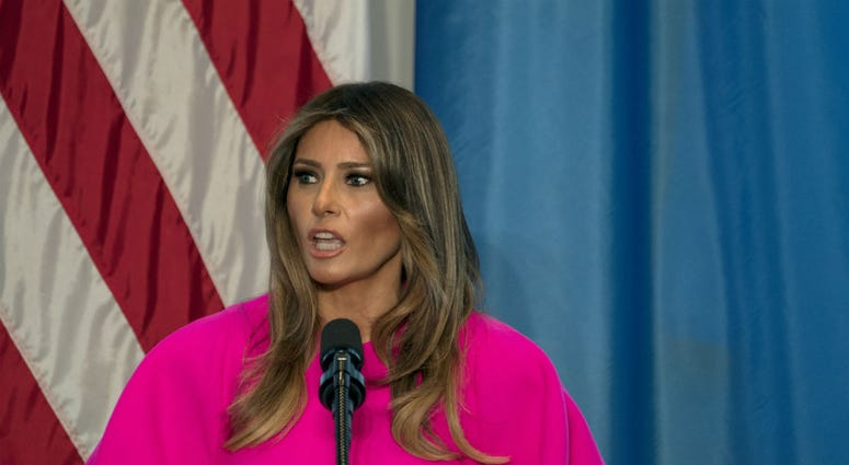In this Sept. 20, 2017, file photo, first lady Melania Trump addresses a luncheon at the U.S. Mission to the United Nations in New York.