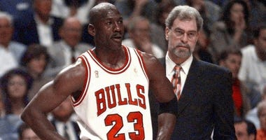 Michael Jordan and coach Phil Jackson