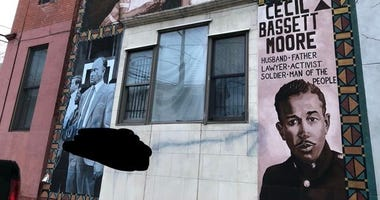 The mural of Cecil B. Moore at North Bouvier and West Jefferson streets was defaced over the weekend.