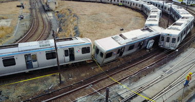 The site of the accident in which a train on the Market-Frankford Line collided with a set of stopped train cars.