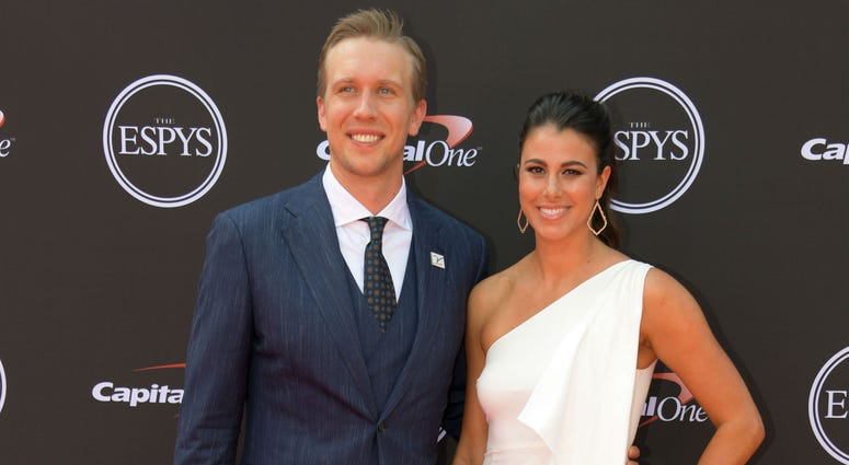 Nick and Tori Foles at the 2018 ESPYs red carpet