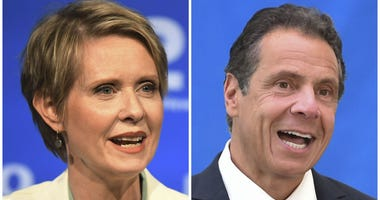 New York gubernatorial candidate Cynthia Nixon, left, speaks during a Democratic primary debate in Hempstead, N.Y., on Aug. 29, 2018, and Gov. Andrew Cuomo speaks at a press conference in New York on July 18, 2018.