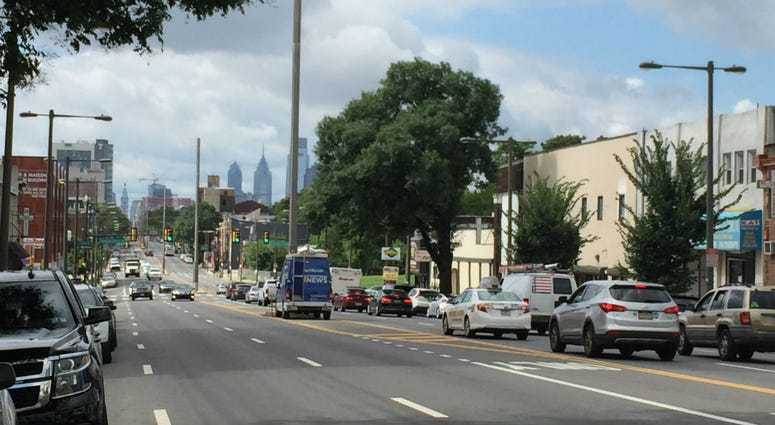 The view southward down North Broad Street from Huntingdon Street.