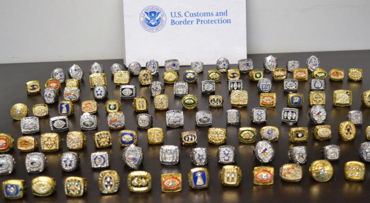Federal authorities seized more than 100 counterfeit Super Bowl rings of varying championships.