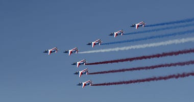 Alpha jets from the French Air Force Patrouille de France fly during the inauguration the 53rd International Paris Air Show at Le Bourget Airport near Paris, France, Monday June 17, 2019.