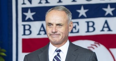 Baseball Commissioner Rob Manfred is introduced during the 2019 National Baseball Hall of Fame induction ceremony at the Clark Sports Center.