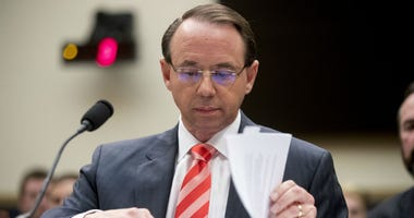 In this June 28, 2018, file photo, Deputy Attorney General Rod Rosenstein appears before a House Judiciary Committee hearing on Capitol Hill in Washington.