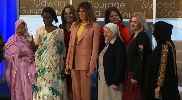 First lady Melania Trump made public remarks at the State Department's International Women of Courage award ceremony Friday.
