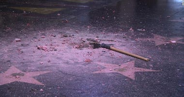 Donald Trump's star on the Hollywood Walk of Fame was destroyed early Wednesday.