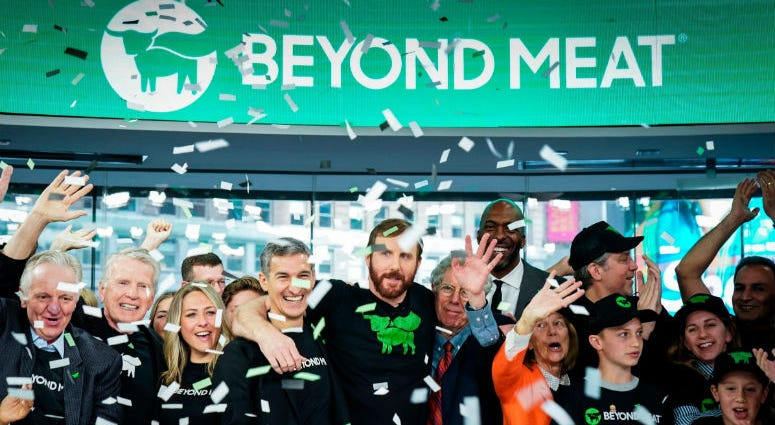 Beyond Meat, the company that makes meatless alternatives to beef, pork and poultry, began trading at $46 a share on Thursday, an 84% increase over its IPO price of $25.