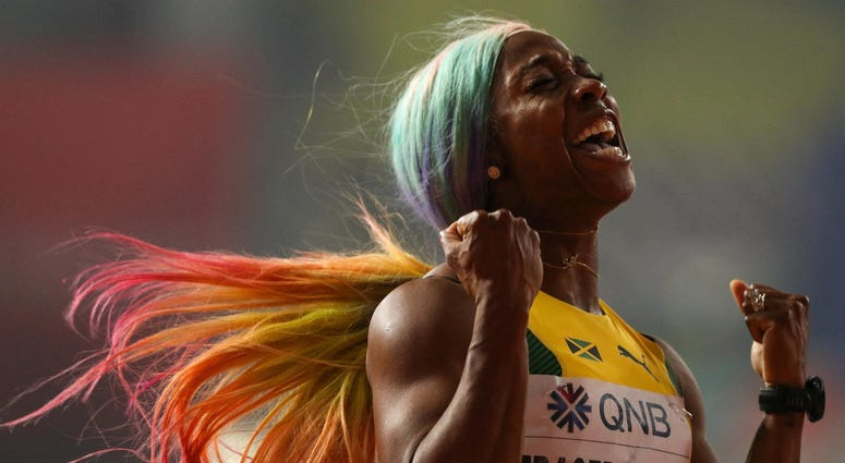 Shelly-Ann Fraser-Pryce further staked her claim as one of the greatest female sprinters of all time by storming to victory in the women's 100 meters final at the World Championships in Doha.