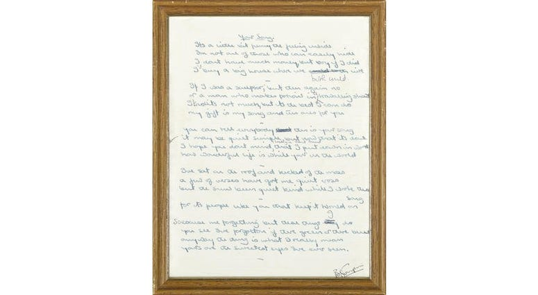 Handwritten lyrics to some of Elton John's biggest hits to be auctioned
