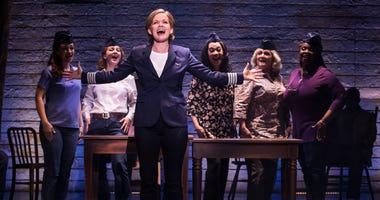 "The cast of the national tour of ""Come From Away,"" including Becky Gulsvig, who plays pilot Beverley Bass."