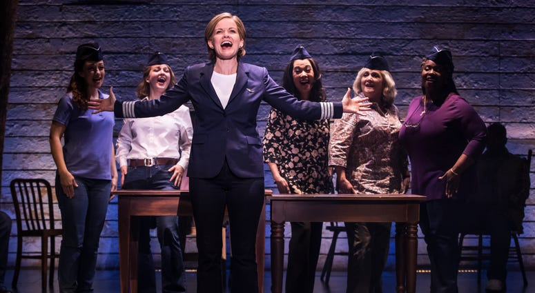 """The cast of the national tour of """"Come From Away,"""" including Becky Gulsvig, who plays pilot Beverley Bass."""