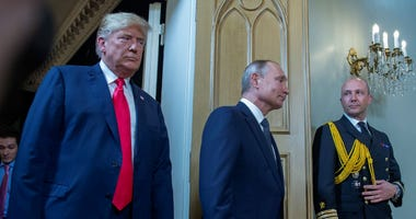 American president Donald Trump (left) and Russian president Vladimir Putin (right) during the meeting. July 16, 2018. Finland, Helsinki.