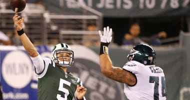 Then New York Jets quarterback Christian Hackenberg (5) makes a pass over Philadelphia Eagles defensive tackle Winston Craig (74) during second half at MetLife Stadium on Aug. 31, 2017. On Aug. 12, 2018, Hackenberg was signed to the Eagles.