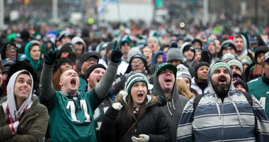 Thousands gather around the Rocky steps of the Philadelphia Museum of Art as the Super Bowl LII Champions Philadelphia Eagles parade down Broad Street ending at the art museum in Philadelphia.