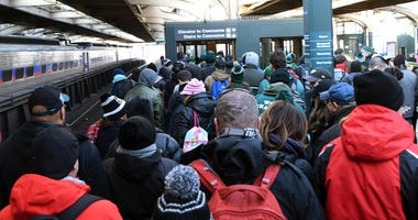 Philadelphia Eagles fans arrive at the SEPTA 30th Street regional rail station during Super Bowl LII champions parade,  Feb 8, 2018.