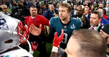 Philadelphia Eagles quarterback Nick Foles (9) reacts after defeating the New England Patriots at Super Bowl LII at U.S. Bank Stadium.