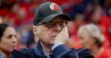 Apr 21, 2018; New Orleans, LA, USA; Portland Trail Blazers owner Paul Allen watches from courtside during the second quarter in game four of the first round of the 2018 NBA Playoffs against the New Orleans Pelicans at the Smoothie King Center.