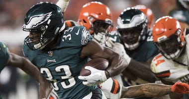 Philadelphia Eagles running back Josh Adams (33) runs with the ball during the second half against the Cleveland Browns at FirstEnergy Stadium, Aug 23, 2018; Cleveland, Ohio.