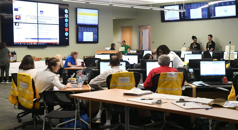 Tallahassee city and government officials receive updates on the status and what to expect from Hurricane Michael at Emergency Operations Center on Wednesday, Oct. 10, 2018.
