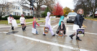 Trick-or-treaters in Fond du Lac, Wisconsin