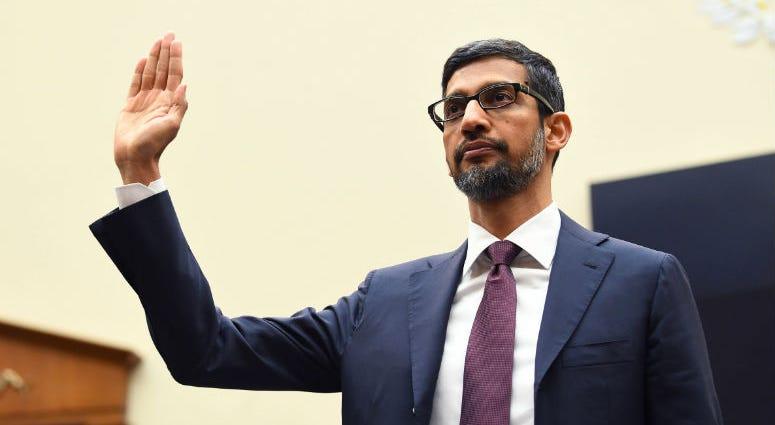Sundar Pichai, CEO of Google, testifies before the House Judiciary Committee.