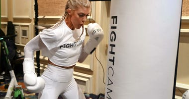 """January 7, 2019; Las Vegas, NV, USA; Shanie \""""Smash\"""" Rusth demonstrates the Fight Camp at Digital Experience, a media preview event at the Mirage Events Center."""