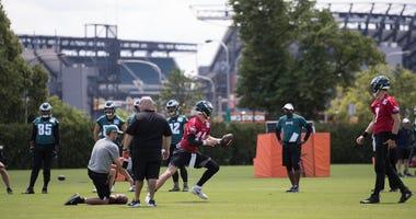 Philadelphia, PA, USA; General view as Philadelphia Eagles quarterback Carson Wentz (11) drops back to pass during minicamp at Novacare Complex.