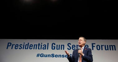 Democratic presidential candidate hopeful John Hickenlooper speaks during the Presidential Gun Sense Forum on Saturday, Aug. 10, 2019, at the Iowa Events Center in Des Moines.