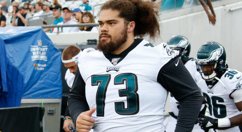 Philadelphia Eagles offensive guard Isaac Seumalo (73) runs out of the tunnel before the game against the Jacksonville Jaguars at TIAA Bank Field.