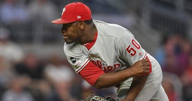 Philadelphia Phillies relief pitcher Hector Neris (50) pitches against the Atlanta Braves during the ninth inning at SunTrust Park.