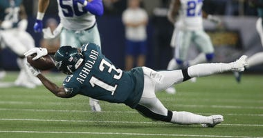 Philadelphia Eagles wide receiver Nelson Agholor (13) catches a pass in the third quarter against the Dallas Cowboys at AT&T Stadium.