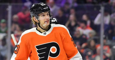 Philadelphia Flyers left wing Oskar Lindblom in 2019