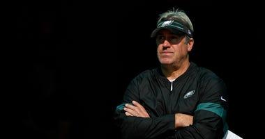 Philadelphia Eagles head coach Doug Pederson prior to a game against the Miami Dolphins at Hard Rock Stadium.