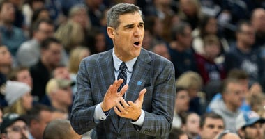 Feb 1, 2020; Philadelphia, Pennsylvania, USA; Villanova Wildcats head coach Jay Wright reacts during the first half against the Creighton Bluejays at Wells Fargo Center.