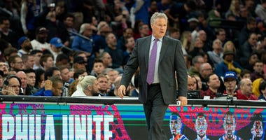 Philadelphia 76ers head coach Brett Brown in a game against the Brooklyn Nets.